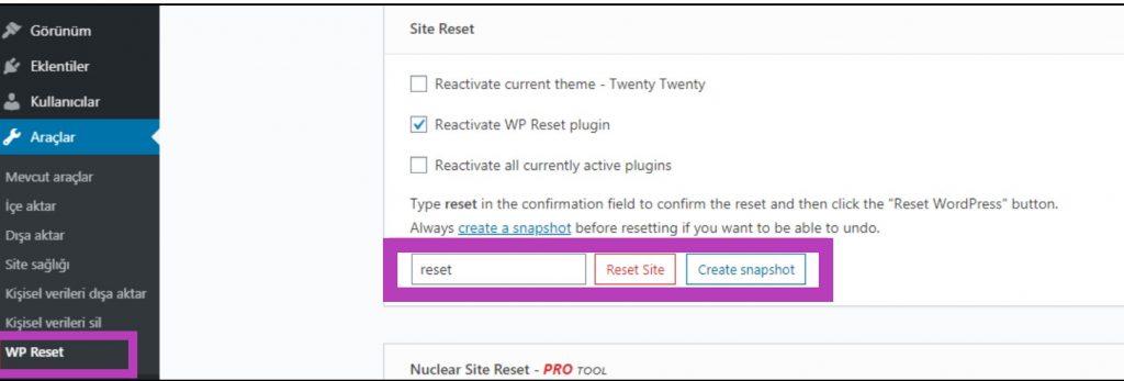 Wordpress Sıfırlama Nasıl Yapılır