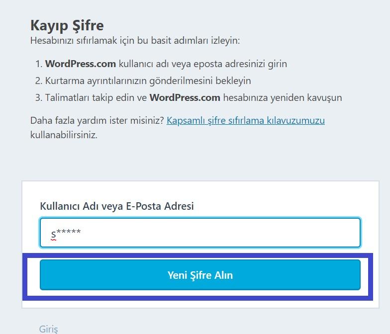 Wordpress Admin Kayıp Şifre